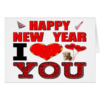 Tarjeta Feliz Año Nuevo te amo
