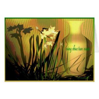 Tarjeta Feliz Año Nuevo vietnamita Paperwhites