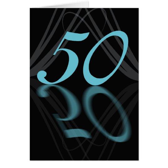 Tarjeta Feliz cumpleaños 50 elegante, espejo 50, 50.o