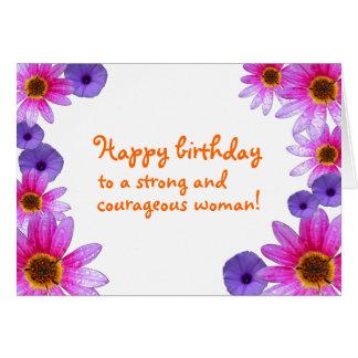 Tarjeta Feliz cumpleaños a una mujer fuerte y valerosa