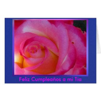Tarjeta - Feliz Cumpleaños al MI Tía - Rosa Rosa