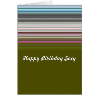Tarjeta Feliz cumpleaños atractivo rayado