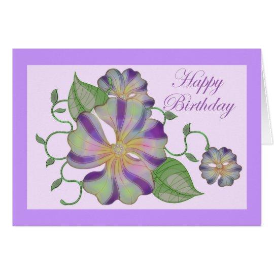 Tarjeta feliz cumpleaños coloreado multi de la flor