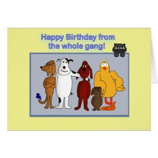 Tarjeta Feliz cumpleaños de la cuadrilla