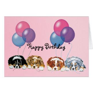 Tarjeta Feliz cumpleaños de los perritos australianos del