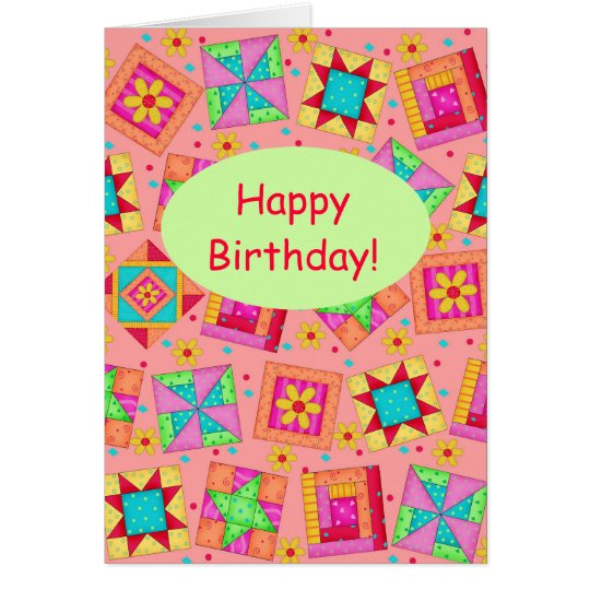 Tarjeta Feliz cumpleaños de remiendo del arte anaranjado