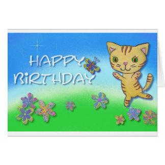 Tarjeta Feliz cumpleaños de un gato feliz del baile