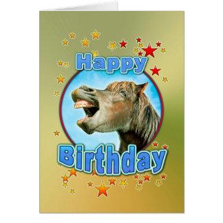 Tarjeta Feliz cumpleaños del caballo de risa