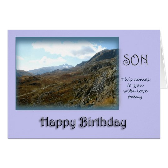 Tarjeta Feliz cumpleaños del hijo - top de la montaña