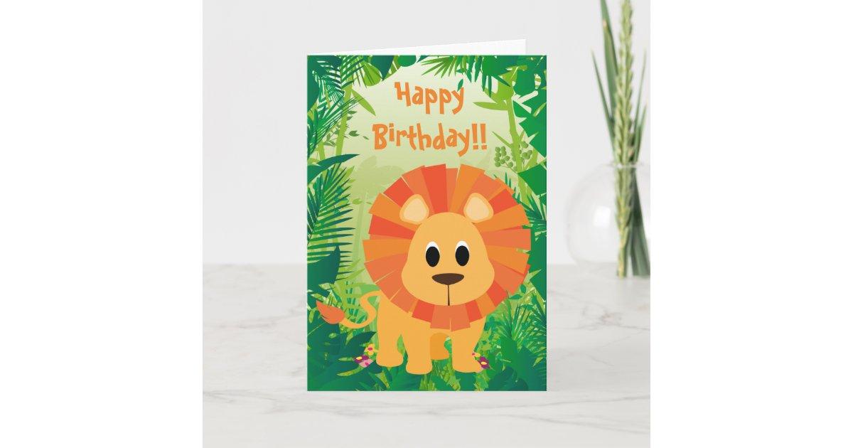 Tarjeta Feliz cumpleaños del león lindo | Zazzle.es