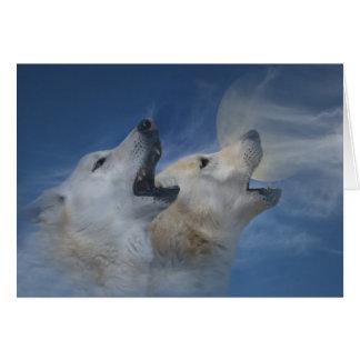 Tarjeta Feliz cumpleaños del lobo que grita la buena