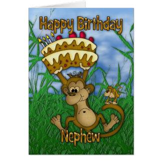 Tarjeta Feliz cumpleaños del sobrino con la torta de la