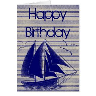 Tarjeta Feliz cumpleaños del velero náutico