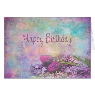 Tarjeta Feliz cumpleaños - elegancia floral