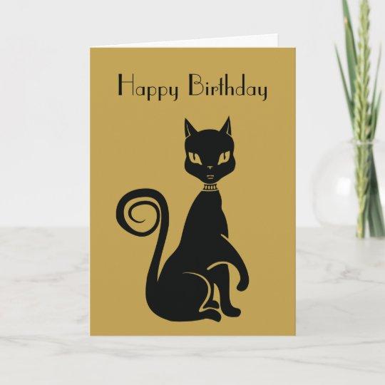 Tarjeta Feliz Cumpleanos Elegante Del Gato Negro Zazzle Es