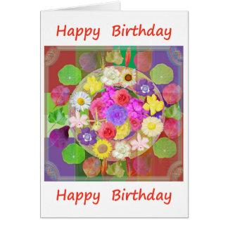 Tarjeta Feliz cumpleaños: Exhibición floral