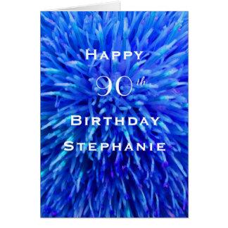 Tarjeta Feliz cumpleaños, extracto azul personalizado,