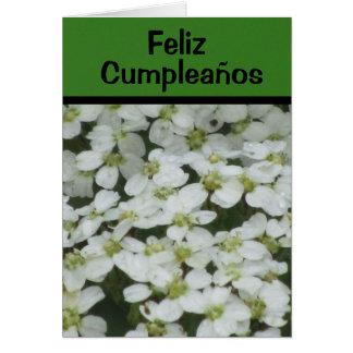 Tarjeta - Feliz Cumpleaños - Flores Blancas