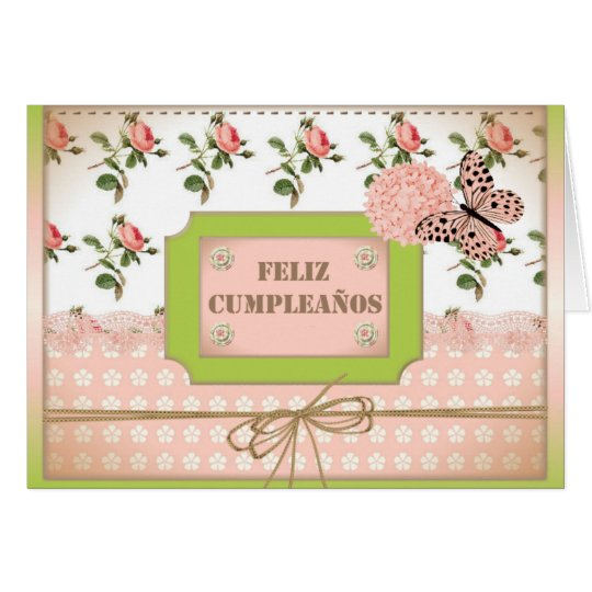 Tarjeta feliz cumpleaños mariposa rosa
