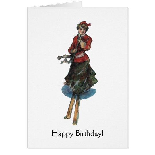 Tarjeta Feliz cumpleaños para un esquiador de la mujer