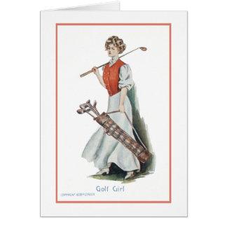 Tarjeta Feliz cumpleaños para un golfista de la mujer