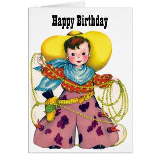 Tarjeta Feliz cumpleaños - pequeño vaquero Roping