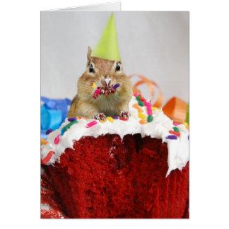 Tarjeta Feliz cumpleaños poco Chipmunk