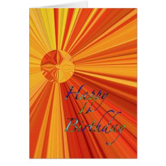 Tarjeta Feliz cumpleaños que fluye resplandor solar