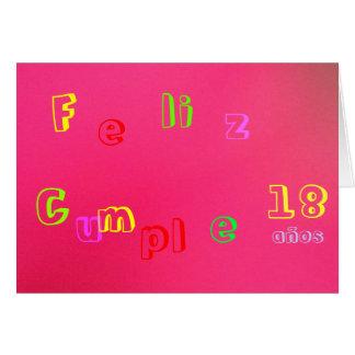 Tarjeta - Feliz Cumpleaños - Rosa-Multicolora