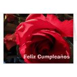 Tarjeta - Feliz Cumpleaños - Rosa Roja