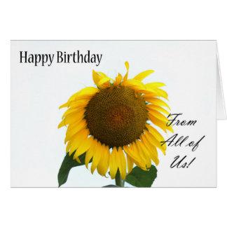 Tarjeta Feliz cumpleaños todos nosotros - girasol