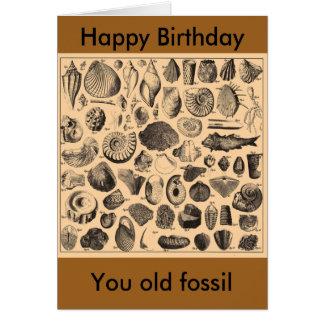 Tarjeta Feliz cumpleaños, usted fósil viejo