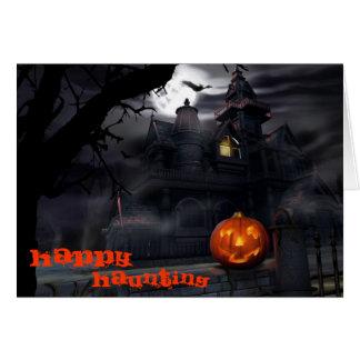 Tarjeta feliz de Halloween que frecuenta
