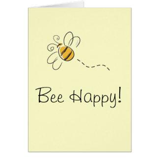 Tarjeta feliz de la abeja