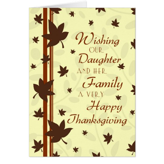 Tarjeta feliz de la acción de gracias de la hija y
