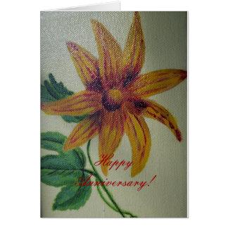 Tarjeta feliz de la flor del botón del amarillo de