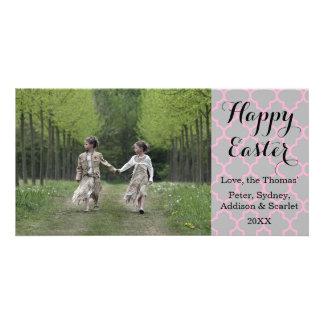Tarjeta feliz de la foto de Quatrefoil Pascua Tarjetas Con Fotos Personalizadas