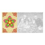 tarjeta feliz de la foto del rangoli del diwali tarjeta con foto personalizada