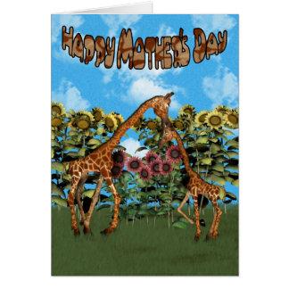 Tarjeta feliz de la jirafa del día de madre