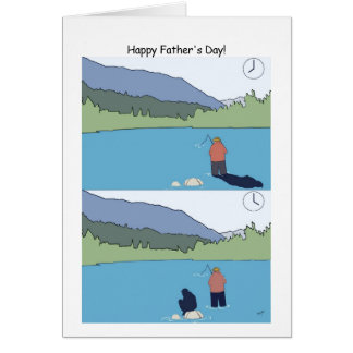 Tarjeta feliz de la pesca del día de padre -