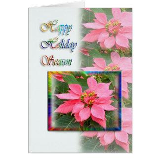 Tarjeta feliz de las vacaciones - Poinsettias rosa