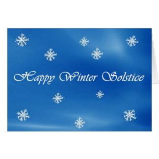 Tarjeta feliz del cielo y del copo de nieve del