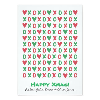 Tarjeta feliz del día de fiesta de Navidad de XOXO Invitación 12,7 X 17,8 Cm