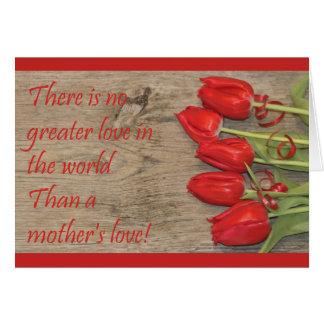 Tarjeta feliz del día de madre de los tulipanes