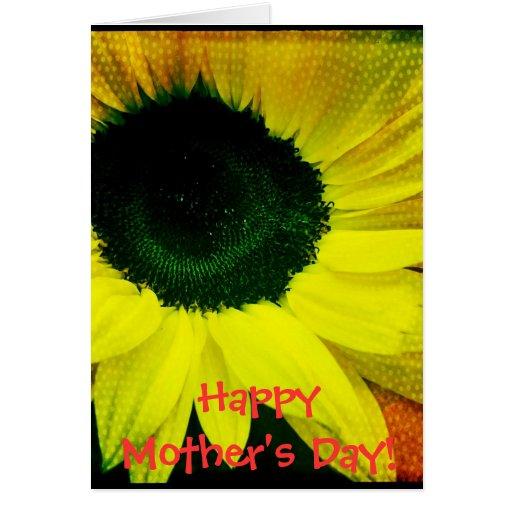 Tarjeta feliz del día de madre del girasol soleado