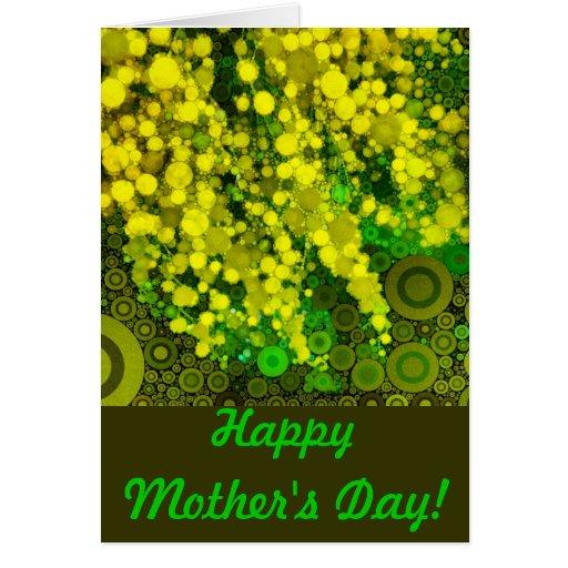 Tarjeta feliz del día de madre del Mimosa amarillo