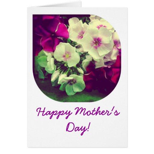 Tarjeta feliz del día de madre del Phlox púrpura y