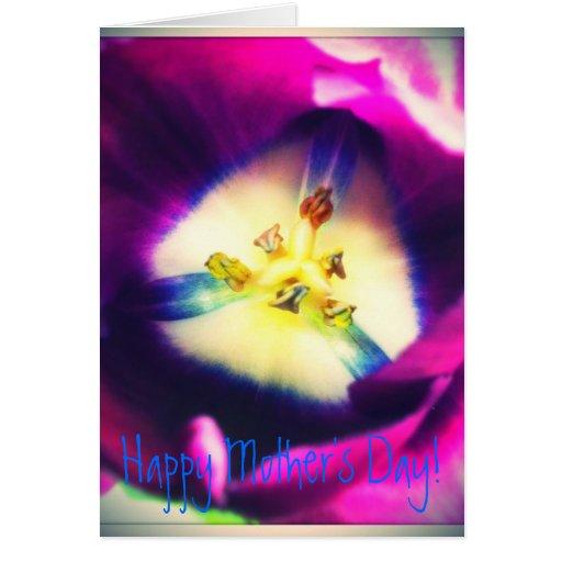 Tarjeta feliz del día de madre del tulipán púrpura