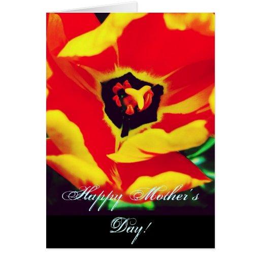Tarjeta feliz del día de madre del tulipán rojo y