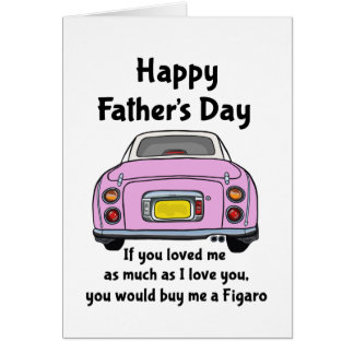 Tarjeta feliz del día de padre del coche rosado de